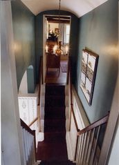 Wellfleet house photo - Traditional 'Good Morning' staircase where the stairs split to each bedroom