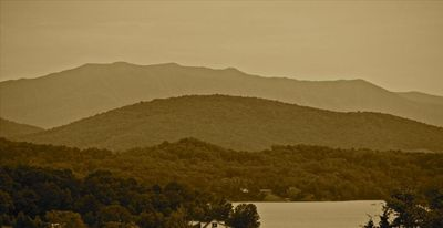 A from the porch close up of Mount LeConte and Douglas Lake