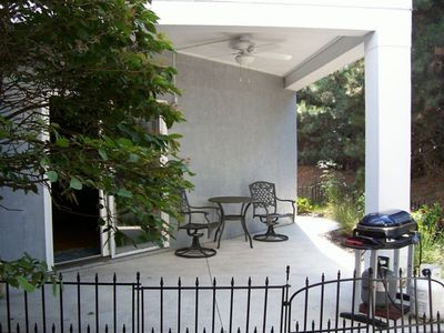 Private rear patio for grilling or having a relaxing morning cup of coffee...
