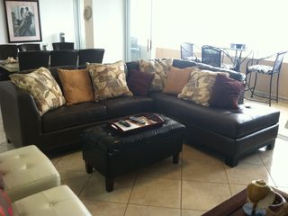 Luquillo condo photo - New comfortable leather sectional in Living Room