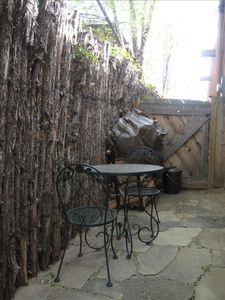 Private flagstone patio outside Casita del Sol