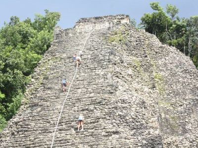 Puerto Aventuras condo rental - The ruins of Coba. A magnificent climb to the top!