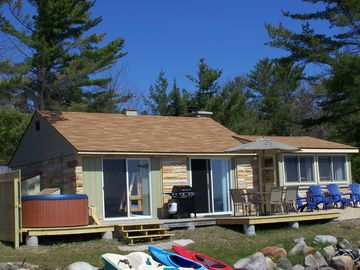Mullett Lake cottage rental - Lakefront side