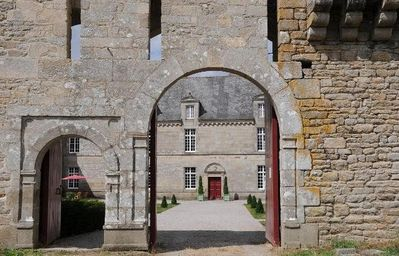 View through the entrance gate to the main house