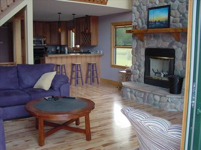 Great Room-Kitchen Area and Wood Fire Place