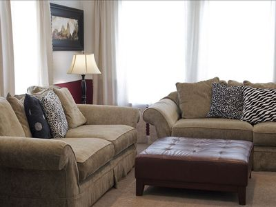 The comfortable family room will be a favorite spot to relax together