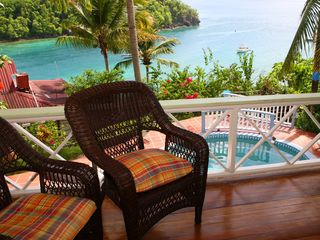 Marigot Bay apartment photo - Upper level balcony