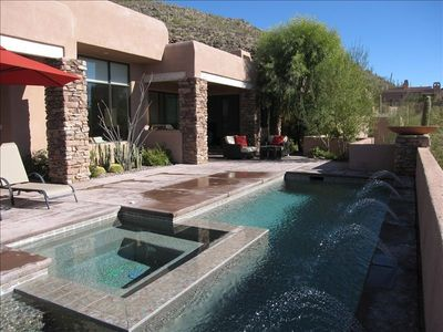 Private patio with pool, spa and sunshine