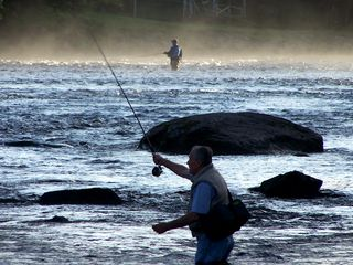 Rockwood cabin photo - Fly fishing on the Moose River - Scott and Gilbert Pool.