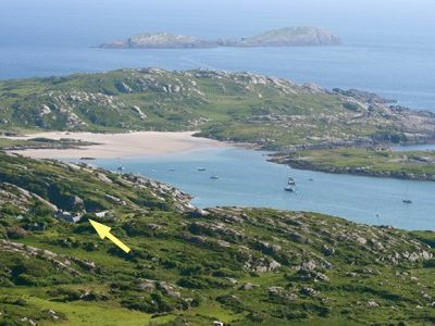 Iskeroon's location overlooking Derrynane Harbour