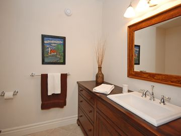 One of the lower level bathrooms with soaker tub/shower