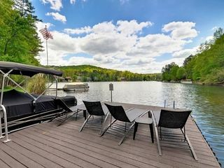 Lake Arrowhead house photo - Large dock, great to lounge, fish, or swim! Canoe, kayaks, paddle, hydrobike.