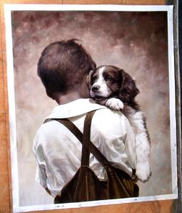 Painting in main hall. Yes, dogs are welcome,