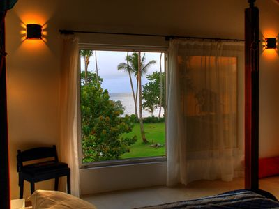 View of garden and ocean from Master bedroom
