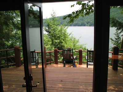 Looking out at the lake off two tiered deck