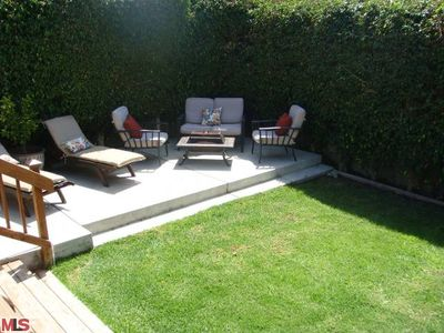 Firepit seating area and lounge chairs
