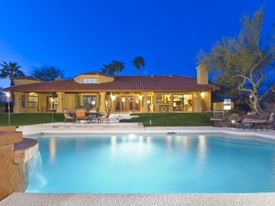 Scottsdale house rental - Entertaining backyard with Putting Green, BBQ, Firepit, Pool and more!
