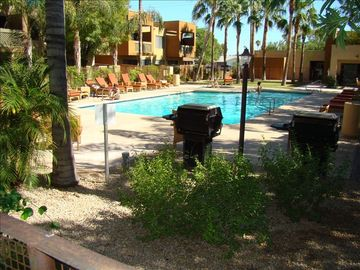 Old Town Scottsdale condo rental - Gorgeous pool with comfy lounge chairs. Enjoy the Gas BBQs and Firepit.