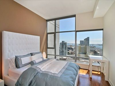 Master Bedroom with Floor to Ceiling Views of the San Diego Bay and Coronado
