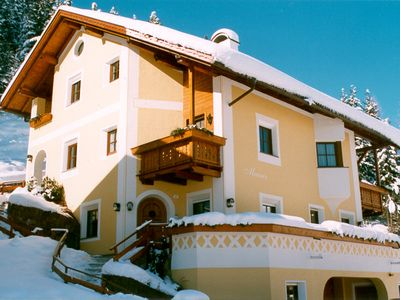Tyrolean-style apartments with a parlor furnished in wood.