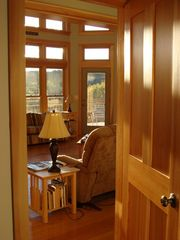 West Wardsboro house photo - Morning glow on Shaker Panel Door from Master Bedroom looking to LR & back deck.