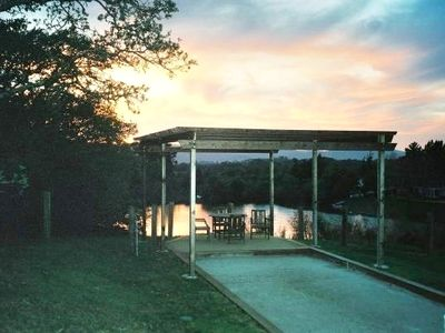 Lake View and Dining at End of Bocce Court