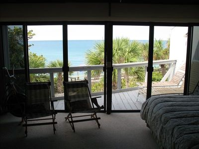 View from 2nd.flr Master Bedroom showing Gulf of Mexico & private deck