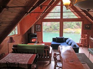 Stevens Pass cabin photo - Cozy view of Skykomish River and national forest
