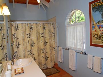 Each bathroom has 2 sinks and a walk in shower; this is the master bathroom.