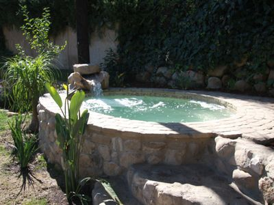 Santa Barbara house rental - Custom built, free form mosaic tile spa with cascading waterfall.
