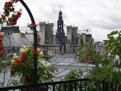View from the terrace of  Hotel De Ville de Paris in summer