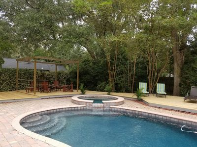 Private back yard and pool area