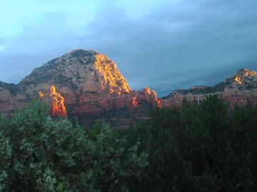 Sedona cottage rental - Sunrise over the guest cottage in Sedona.