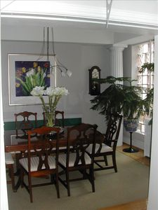 Formal Dining Room Featuring Glass Block Wall