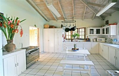 Castries villa rental - La Paloma's Large Kitchen - where our two wonderful Cooks prepare meals