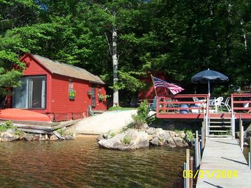 Dock, deck, beach, Boathouse includes 1 queen, 2 twins, 1/2 bath