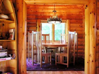 Burns Lake cabin photo - Breakfast room with handcrafted amish furniture
