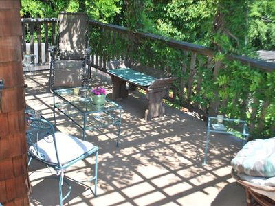 Larkspur house rental - Main Level Deck, Also not shown is outdoor dining table for evening BBQ eating i