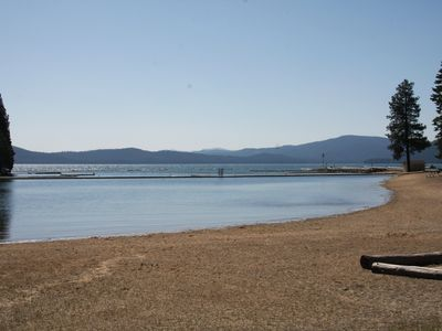 Lake Almanor house rental - Sandy beaches at the recreation area-also has bar-b-ques and picnic tables.