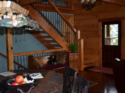 Hot Springs cabin rental - Craftsman Staircase