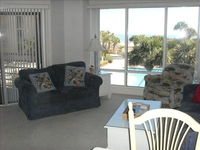 Beautiful view of pool and ocean from living room