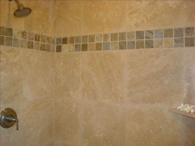 Oversized Italian Travertine Shower for Two
