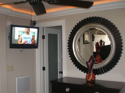 Bedroom TV on swivel mount