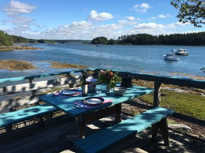 Enjoy your ocean's edge deck & views of islands, birds, lobster boats, kayakers