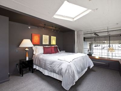 Master Bedroom in loft with skylight (with operable blinds)