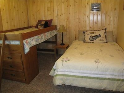 Lower level bedroom #4, double bed and Captain's bed for the kids!