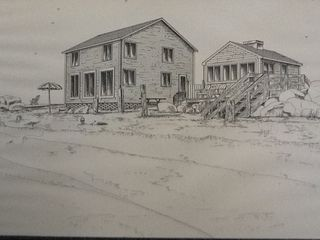 Yarmouth cottage photo - Rendition of our beach houses, lovely gift from our guest, artist Carol Norton