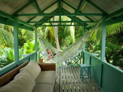 Hammock on cottage balcony