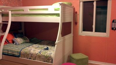 Bunk beds with 2 twins and a full bed!