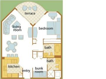 Two Bedroom Two Bath Junior Suite Floorplan